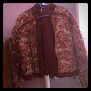 Free People Quilted Floral Print Bomber Jacket